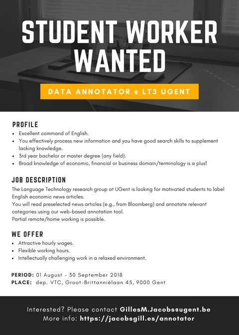 Wanted Annotator at LT3, UGent